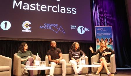 Creative Access Masterclass, 2016. Panelists included, from right to left: Neev Spencer (Kiss DJ), Jamz Supernova (Radio 1Xtra presenter), Austin Daboh (Music Manager at Radio 1Xtra) as well as Jagruti Dave (Producer at LBC).
